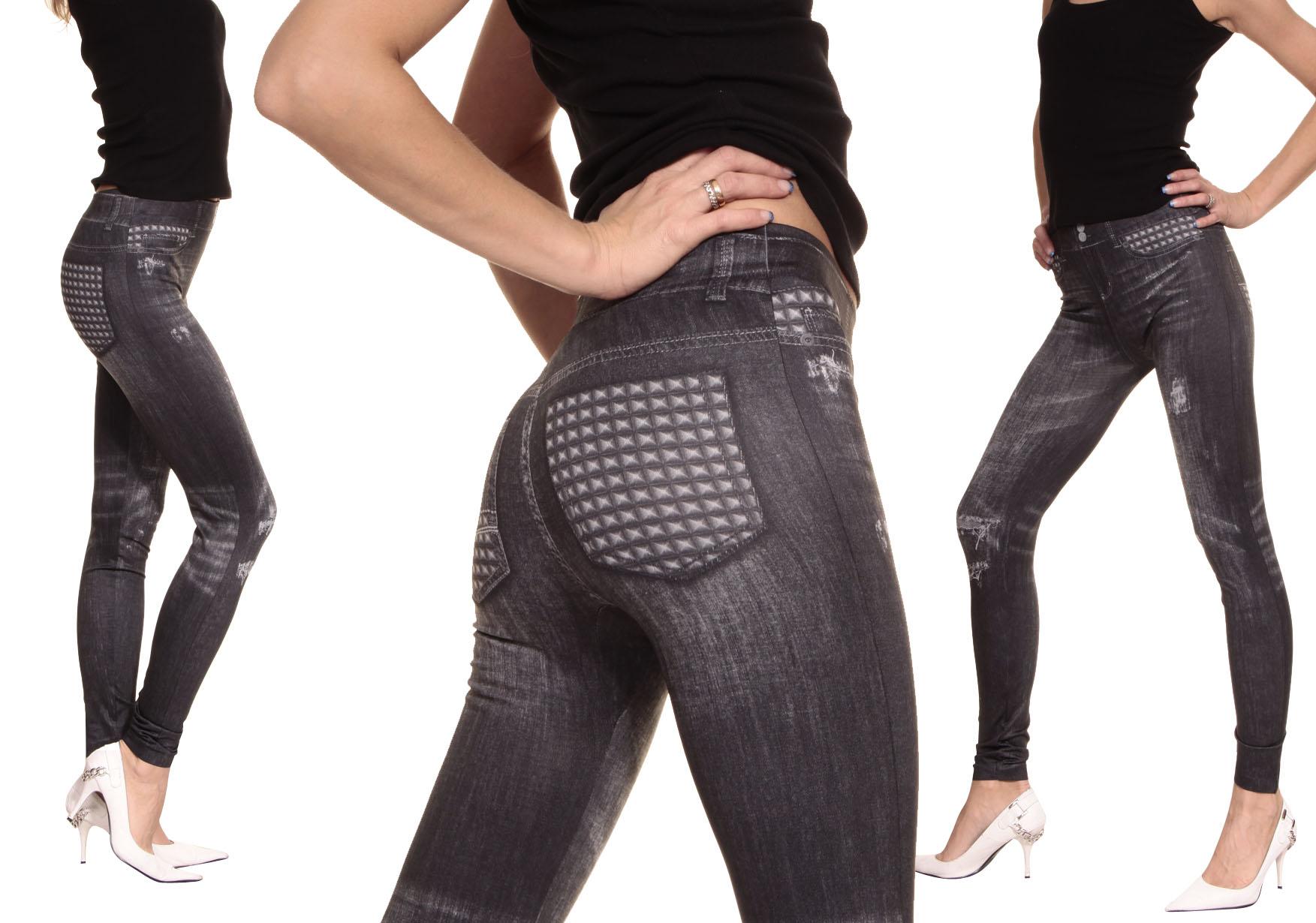 sexy leggings capri jeans look kurz leggins nieten muster. Black Bedroom Furniture Sets. Home Design Ideas