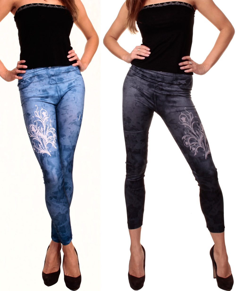 trendy leggings jeans look leggins used flecken blumen muster jeggins s m l hose ebay. Black Bedroom Furniture Sets. Home Design Ideas