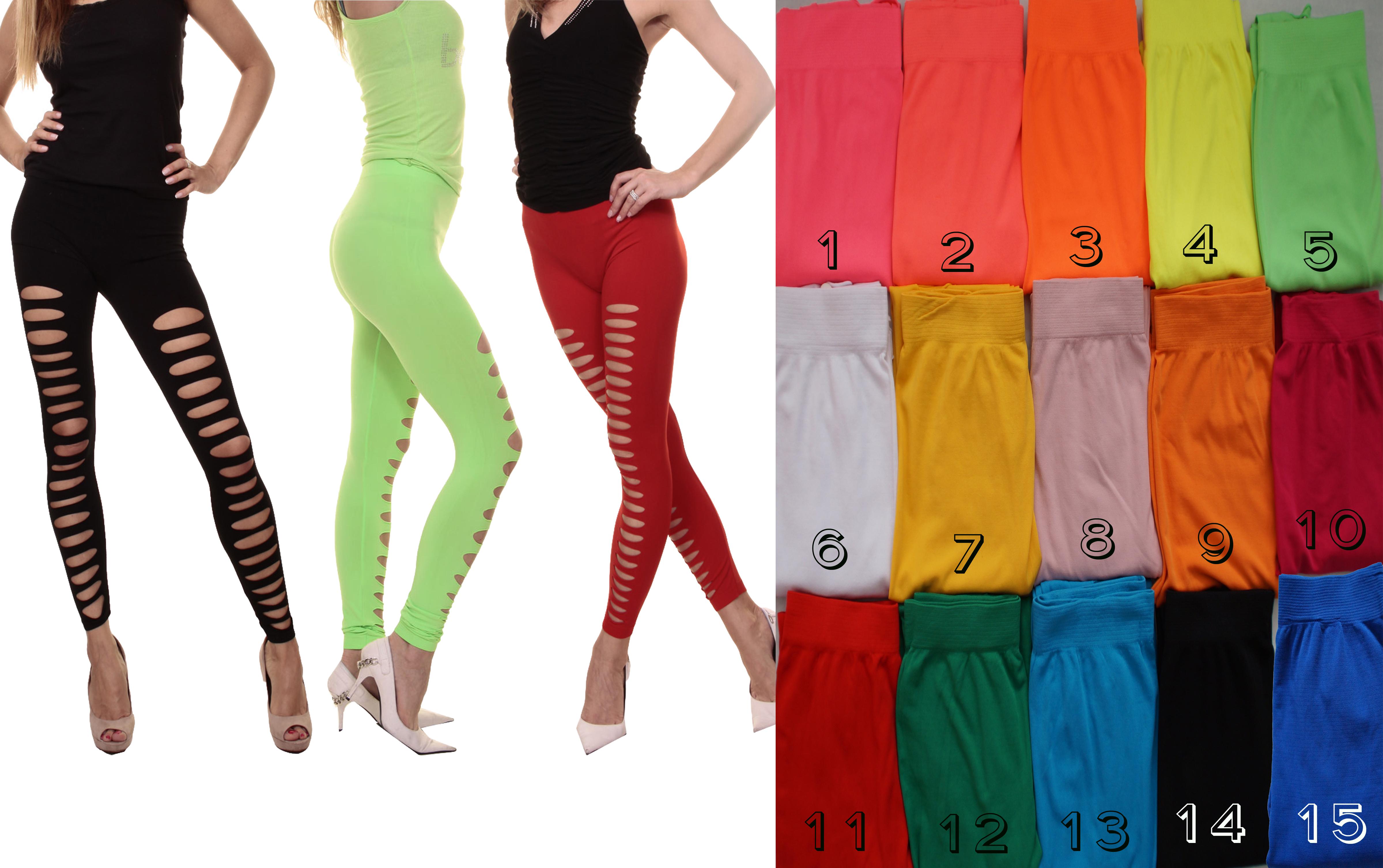 Lau-Fashion Damen Neon Risse Pink Stretch Leggings Galaxy Hose Jeggings Punk S//M