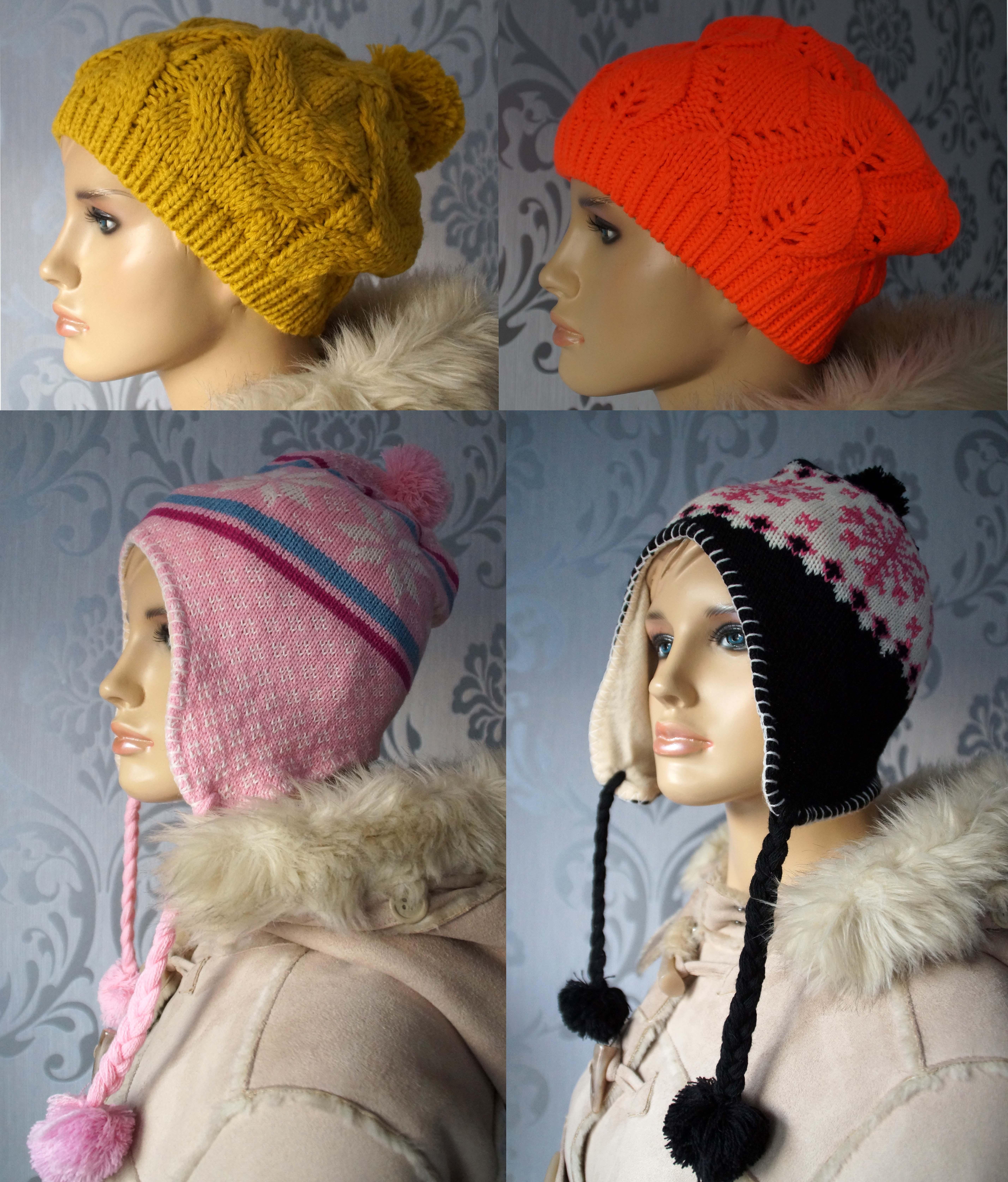 Details zu Damen Mütze Strickmütze Beanie mit Bommel Ohren Wintermütze Inka Norweger Muetze